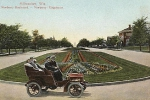 Newberry Blvd Postcard with Old Car
