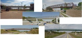 The styles of modern bridges being considered to replace the Historic Lake Park Arch Footbridge over Ravine Road
